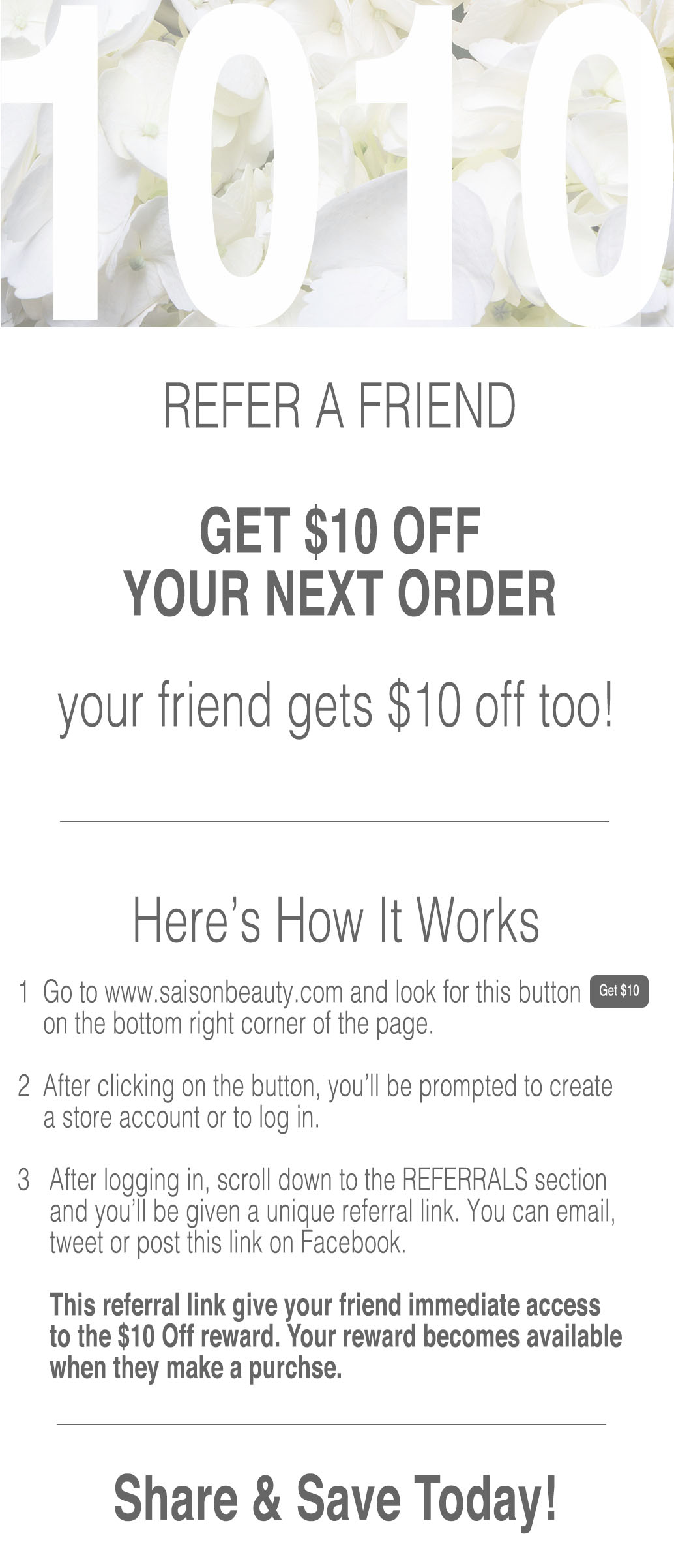 Get $10 When You Refer A Friend to Saison Beauty